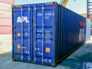 Extra long container view of doors.