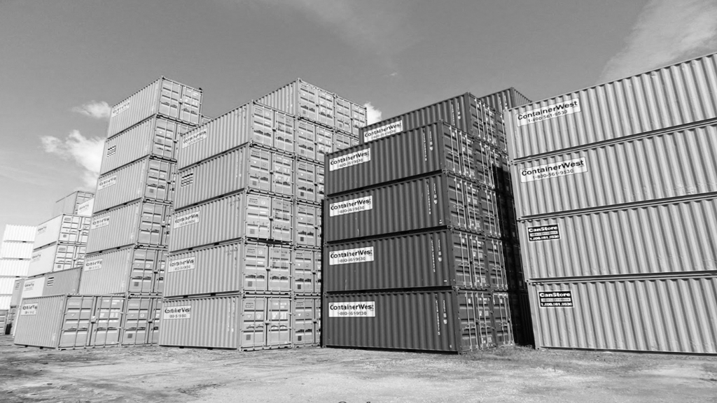 Container Yard in black and white