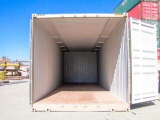 Extra wide and extra tall container doors opened.