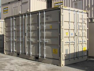 20' open side container all doors closed.