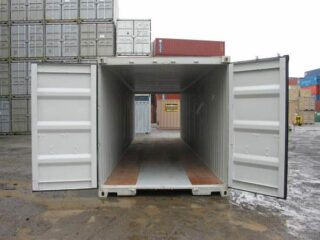 Double door shipping container open on both sides.