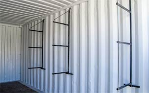 Optional Shelving brackets shown installed in container.