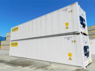 Refrigerated containers stacked in yard